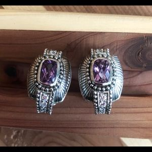 Judith ripka sterling amethyst earrings